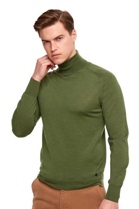 Yeşil Boğazlı Slim Fit Merino Yün Triko
