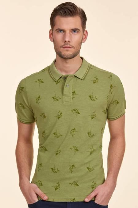 Yeşil Desenli Polo Yaka T-Shirt