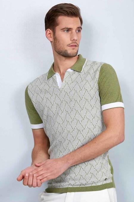 Yeşil Desenli Triko Polo T-Shirt