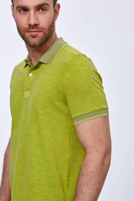 Yeşil Vintage Görünüm Polo Yaka T-Shirt