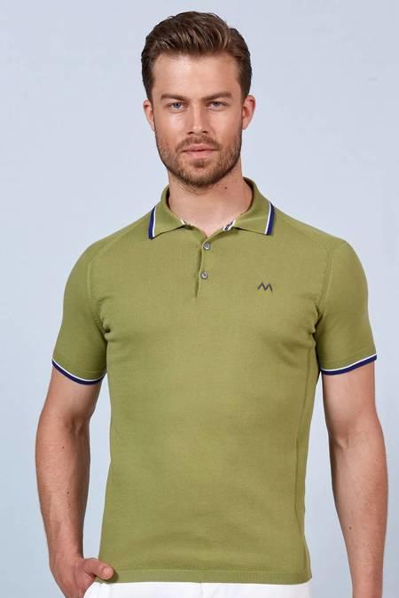 Yeşil Giza Pamuk Triko Polo T-Shirt